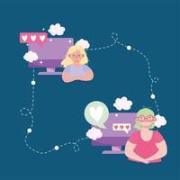 mulheres computador conectadas vetor
