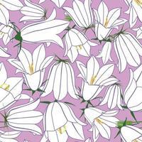 padrão floral sem emenda. textura ornamental do prado do bluebell da flor. fundo branco do campo do verão das flores silvestres. vetor