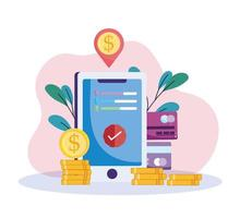smartphone de pagamento online vetor