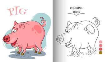 personagem animal porco engraçado na página do livro para colorir estilo cartoon vetor
