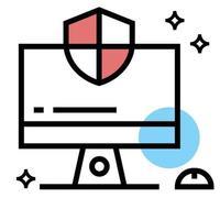 ilustração de desenho vetorial de ícone de proteção de computador vetor