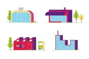 edifícios de estilo plano abstrato mínimo cravejado de árvores. ilustração vetorial de loja, banco, açougue e café para suas necessidades, isolada no fundo branco vetor