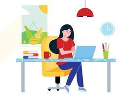 empresária freelance feminina relaxante trabalhando no laptop no escritório em casa. mulher, caderno, mesa, livros, caneta, lápis, lâmpada, xícara de café, janela, relógio, ilustração em vetor estilo simples isolada