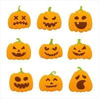 9 abóboras laranja de halloween com uma careta de expressão de rosto assustador vetor