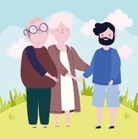 avós e filho adulto vetor