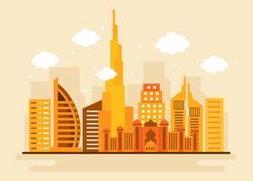 Vetor de skyline de cidade de Dubai