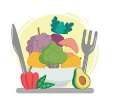 menu de comida saudável vetor