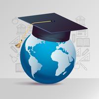 Educação moderna com elemento de fundo de ícones vetor