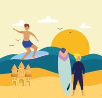 praia de pranchas de surf para meninos vetor