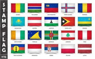 carimbo com o padrão de bandeira oficial do país e o antigo nome de textura e países do grunge. forma de retângulo. vetor. conjunto 7 de 12 nesta série todas as bandeiras nacionais do mundo. vetor
