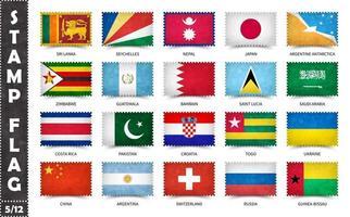 carimbo com o padrão de bandeira oficial do país e o antigo nome de textura e países do grunge. forma de retângulo. vetor. conjunto 5 de 12 nesta série. todas as bandeiras nacionais do mundo vetor