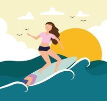 menina prancha de surf mar vetor