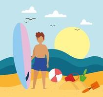 menino com prancha de surf vetor