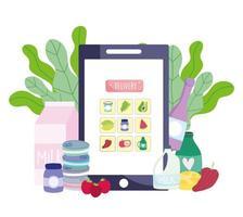 supermercado online para smartphone vetor