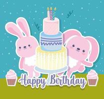 bolo de coelhinhos de aniversário vetor