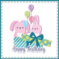 presente de aniversário de coelhos vetor