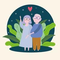 família de avós fofos vetor