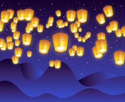 Ilustração de lanterna do céu de Taiwan vetor