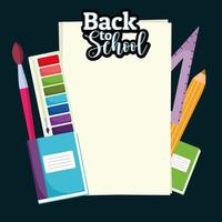 volta às aulas papel em branco com paleta de cores, pincel, régua e lápis vetor