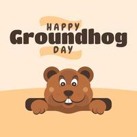 Modelo de Design de cartões feliz dia da marmota vetor