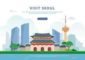 Visite a ilustração de Seul vetor