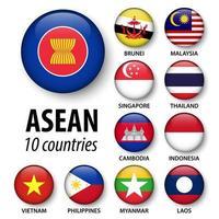 associação asean de nações do sudeste asiático e conjunto de membros vetor