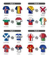 conjunto do sorteio da eliminatória de futebol europeu vetor