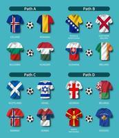 sorteio da eliminatória de futebol europeu vetor
