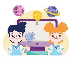 Aula online de menino e menina com computador vetor