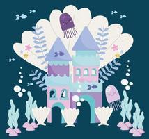 castelo fantasia medusa conchas, algas e peixes vetor