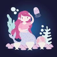 Desenhos animados de lindas conchas de sereia, alga-viva, pedras vetor