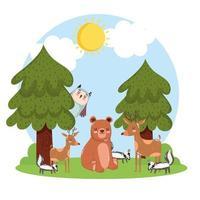 paisagem de animais fofos vetor