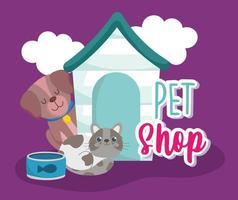 pet shop cachorro fofo comida de gato e desenho de casa vetor