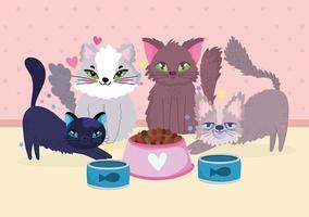 grupo engraçado gatos animais com peixe enlatado e tigela de comida vetor