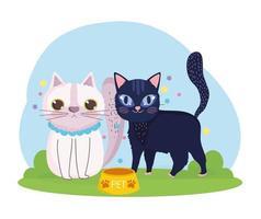 desenho animado gatos animais felinos com comida na grama vetor