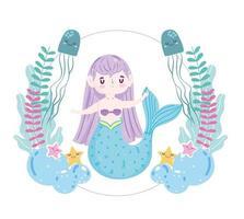 bonito desenho animado sereia medusa, estrelas, peixes e algas vetor