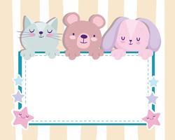 chá de bebê adorável urso coelho e cartão de convite de gato vetor