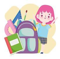 estudante com mochila livro régua desenho animado vetor