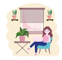mulher usando laptop sentada na cadeira escritório em casa escritório em casa vetor
