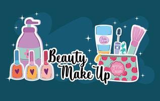 beleza maquiagem esmaltes escova rímel e kit cosméticos vetor