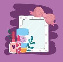 espelho de maquiagem beleza, rímel e batom vetor