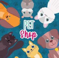 pet shop, desenhos animados de hamster de gatos pequenos vetor