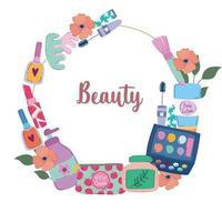 produtos de beleza, maquiagem, cosméticos, moda, estilo cartoon vetor