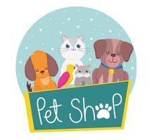 pet shop cachorro hamster gato papagaio animais vetor
