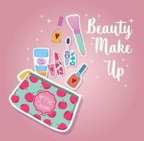 kit de maquiagem de beleza, rímel, esmalte de unha, batom, escova e loção corporal vetor