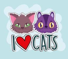eu amo gatos, desenhos animados de rostos de animais engraçados vetor