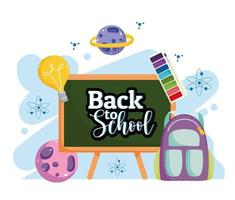 volta às aulas lousa mochila paleta colorida desenho animado vetor