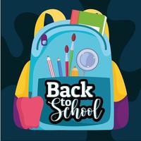mochila de volta às aulas com pincel e lupa vetor
