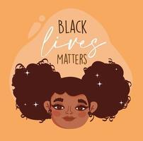 vidas negras importam, rosto feliz garota cabelo encaracolado personagem vetor