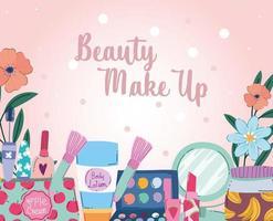 pincéis de maquiagem de beleza, paletas de pó, batom, lápis de olho, esmalte de unha vetor